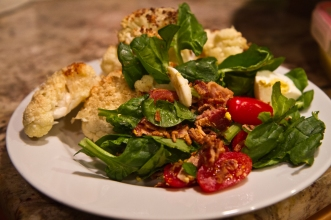 Roasted cauliflower and spinach salad