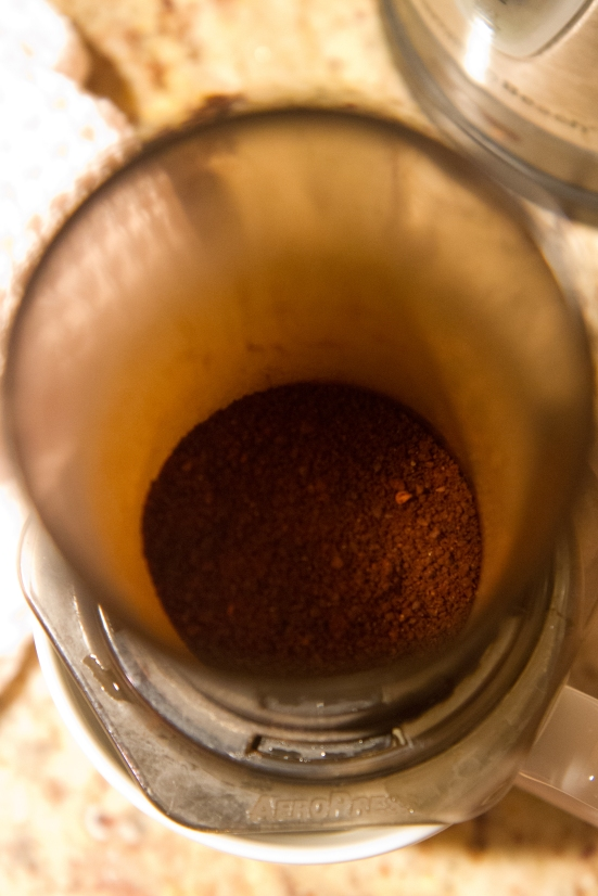 Coffee grounds in AeroPress