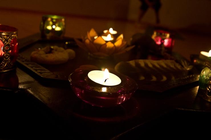 Candles on medicine wheel altar