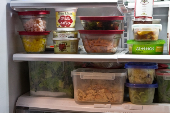 Prepped food in containers